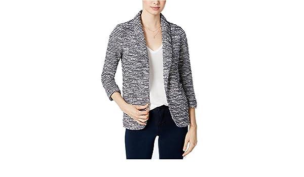 Maison Jules Womens Open-Front Textured Blazer