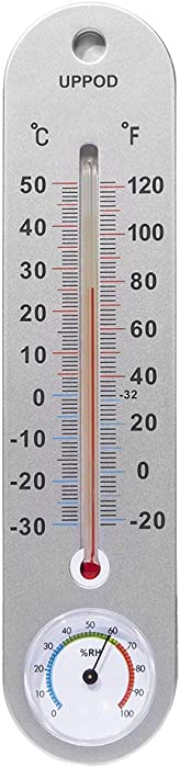 LittleGood Thermometer Indoor with Humidity - 9.8 Inch Wall Vertical Thermometer / Hygrometer, Temperature Monitor for Home, Household Thermometer for Room Temp