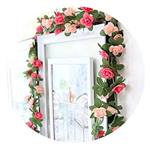 250cm Artificial Vine Flowers Silk Small Roses Fake Flowers with Plastic Green Leaves Roses Vine Wall Hanging Garland Decoration 55