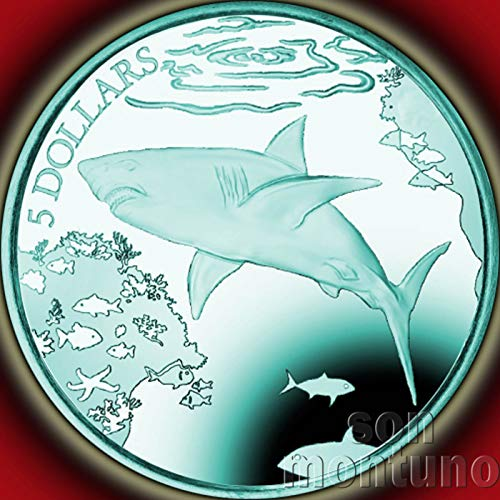 Silver British Virgin Islands - THE POWERFUL GREAT WHITE SHARK - Turquoise Titanium 5 Dollar Coin in Box with Certificate of Authenticity - 2016 British Virgin Islands $5