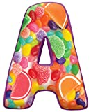 iscream Lettermania A Initial 16'' Jelly Candy Print Fleece Back Microbead Pillow
