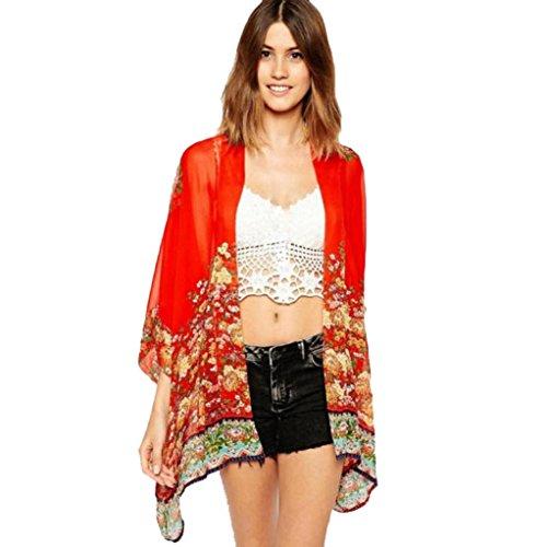 Amlaiworld Femmes Imprimé en mousseline de soie Cardigan Floral Châle Kimono