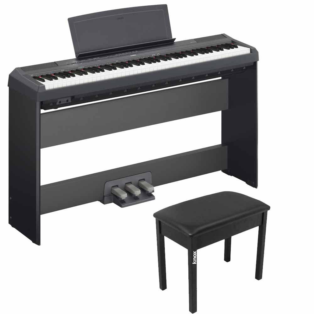 Yamaha P115B 88 Weighted Keys Digital Piano w/ Yamaha L85 Stand, LP5A 3-Pedal Unit & Knox Bench
