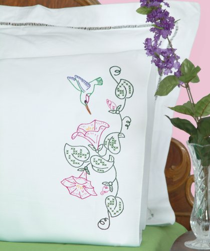(Jack Dempsey Needle Art 1600293 Perle Edge Pillowcase, Hummingbird with Perle Edge Finish, 20-Inch by 30-Inch, White)