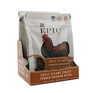 Epic Jerky Bites, 100 Percent Natural, Chicken, Sweet Sesame Ginger 2.5 Ounce, Pack of 8