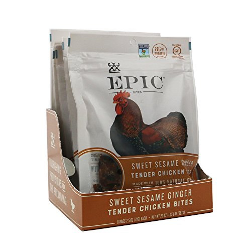 Epic Jerky Bites, 100% Natural, Sweet Sesame Ginger, Chicken, 2.5 oz. (8 Count)