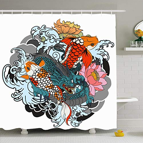 Ahawoso Shower Curtain 60x72 Inches Red Carp Dragon Koi Fish Flower Tattoo Wildlife Coloring Asian Black Design Drawn Waterproof Polyester Fabric Bathroom Curtains Set with Hooks