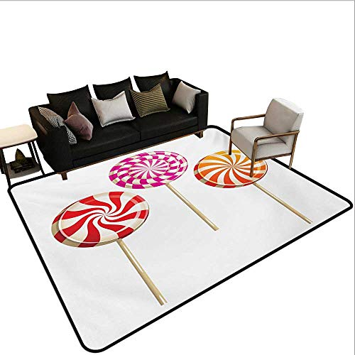 - Non-Slip Floor mat,Realistic Sugary Treats on Sticks Spiral Round Lolly Pops Delicious Tasty Snacks 6'x8',Can be Used for Floor Decoration