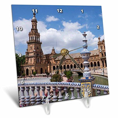 3dRose Danita Delimont - Spain - Spain, Andalusia, Seville. Plaza de Espana scenic. - 6x6 Desk Clock (dc_277897_1) by 3dRose