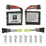 GPTOYS 2Pcs 800mAh Li-ion Battery and 8Pcs Universal Body Clips for GPTOYS S911 S912 RC Cars , 2nd Generation