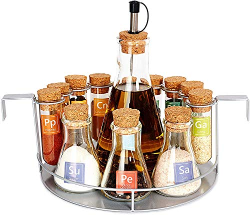 Spice Test Tube Rack Set - 12-Jar Science Organizer for Spices Seasoning Herbs - Kitchen Countertop Tabletop Gift Set for Geeks Chemists Scientists
