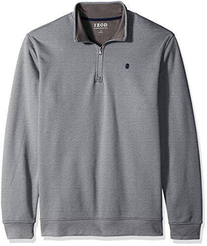 (IZOD Men's Big and Tall Advantage Performance 1/4 Zip Pullover Fleece, Light Grey Heather, 2X-Large Tall)