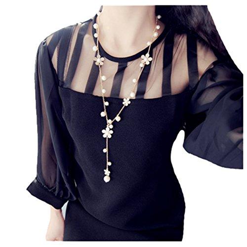 Nurbo 2017 New Fashion Desgin Women's Elegant Pearl Flower Sweater Chain Long Pendant Necklace Fashion (Pearl Sport Necklace)
