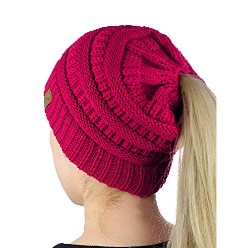 9PROUD Hot Pink Winter Hat Unisex Cable Knit Slouchy Ski Cap Fuzzy Lined Skully Beanie E9919 -