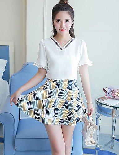 blanc Medium Xuanku Femmes 039;S Facile Tous Les Jours D'été Simple Jupe T-Shirt Col V Imprimé,Convient-Micro-élastique
