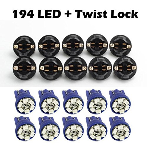 Partsam 10 Pack PC168 T10 Twist Lock Blue T10 168 Led Cluster Gauge Dash Light Bulb+ 10 Pcs Amber Mini bulb