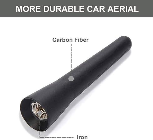 Aobetak universal car aerial, 6.5 cm (2.5 inch) small short car aerial, mini car radio accessories, FM/AM inputs M5 M6, black