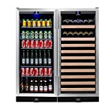 Large Wine and Beverage Cooler 2-Zone Combo - Holds 300 Cans and 98 Bottles KingsBottle Exceptional Italian Temperature Control Refrigerator with Glass Door, Ideal for Bars, Restaurants, Homes