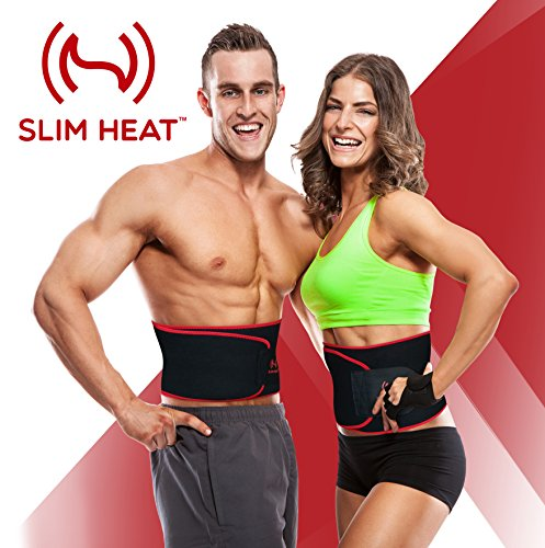Slim Heat Neoprene Waist Trimmer with Smartphone Sleeve Case – Slimming Ab Belt Promotes Healthy Weight Loss and Tight, Toned Core – Lumbar Support for Gym Exercise – Corset for Men & Women