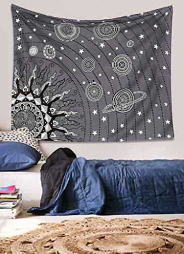 Mandala Decor Journey through space planets sun mandala wall hanging hippie boho throw Grey (Where To Buy Artificial Trees)