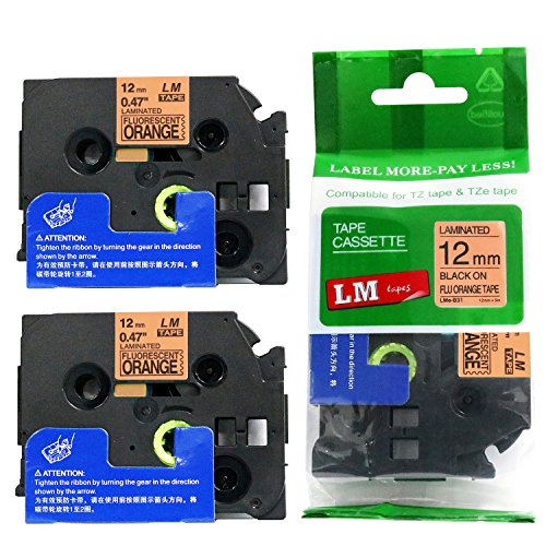 Hunter Orange Label - 2/Pack - Compatible with Brother TZe-B31 Black on Fluorescent Orange p-Touch Label Tape, 12mm Laminated replacment TZeB31 Tape, TZB31 0.47