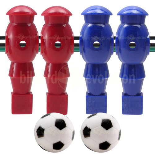 Billiard Evolution 4 Red and Blue Robotic Foosball Men and 2 Soccer Balls by Billiard Evolution