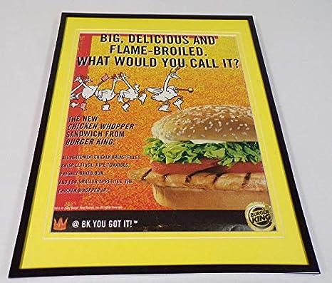 2002 Burger King Chicken Whopper Framed 11x14 ORIGINAL