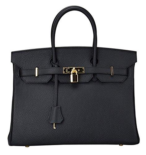 Ainifeel Womens Padlock Handbags With Golden Hardware  30Cm  Black