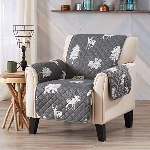 Sofa Saver Lodge Reversible Stain Resistant Printed Furniture Protector. Perfect for Pets and Kids. Adjustable Elastic Straps Included. (Chair, Forest Animals) by Sofa Saver