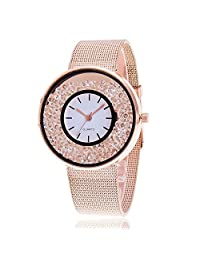 Amassan Stainless Steel Rose Gold Wrist Wtach Luxury Women Rhinestone Watches Quartz
