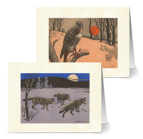 (Vintage Wildlife - 36 Note Cards - 12 Designs - Blank Cards - Off-White Ivory Envelopes Included)