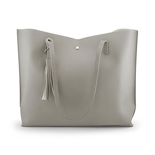 te Bag - Tassels Faux Leather Shoulder Handbags, Fashion Ladies Purses Satchel Messenger Bags - Gray ()