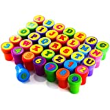Colorful Self Inking Stamps Plastic Alphabet and Number Stamps Set for Children Party Favor, School Prizes, Birthday Gift, Learn Props