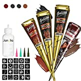 Janolia Temporary Tattoo Set, Safe Waterproof Body Painting with 4Pcs Three Color Paste Cones, 20Pcs Adhesive Stencil, 1Pcs Bottle, 4Pcs Nozzles (Black, Brown, Red)