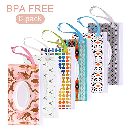 Blisstime Wet Wipe Pouch, 6 Pack Baby Wipe Holder Travel Cases, Reusable Eco-Friendly Pouches to Keep Wipes Moist (Type A)