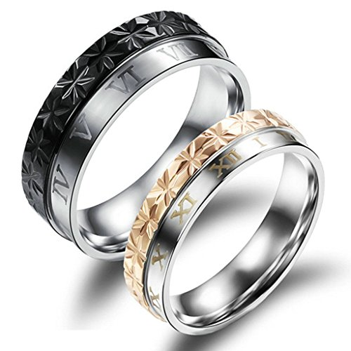 - Daesar Stainless Steel Rhombus Roman Numerals Inlaid Ring for Woman Wedding Bands Valentines Gift Size:6