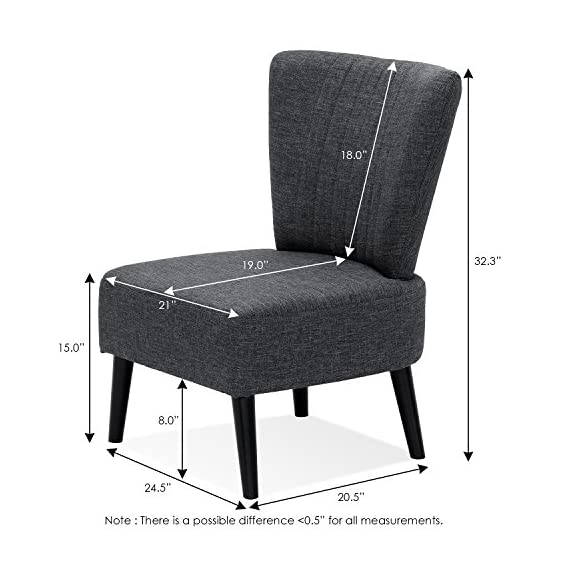 Furinno Euro Modern Armless Fabric Accent Chair, Dark Grey - Simple, comfortable and elegant fabric Chair With wooden legs Enhanced comfort: thick Seat and Back Cushion with premium quality fabric cover Product Dimension: 22. 5(W)x19. 0(D)x32. 3(H) inches. Seat dimension: 21. 0(W)x15. 0(H)x19. 0(D) inches. Leg height- bottom to top: 8. 0 inches - living-room-furniture, living-room, accent-chairs - 51e5dXQu3IL. SS570  -