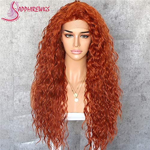 (Sapphirewigs Orange Color Kinky Curly Black Women Daily Makeup Kanekalon Heat Resistant Hair Synthetic Lace Front Party Wigs With Baby)