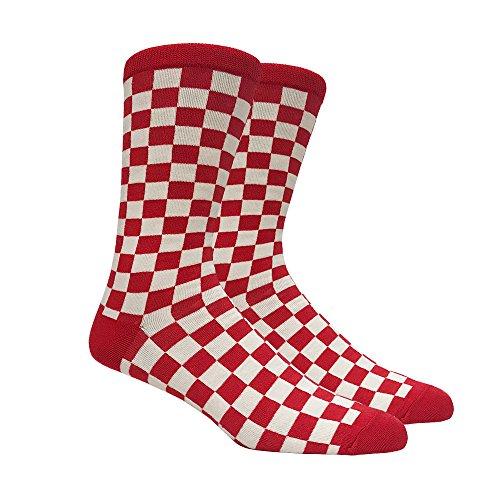Men's Red and White Checkered Socks