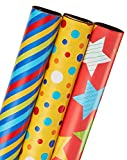 American Greetings Wrapping Paper, Colorful Stripes, Dots, & Stars, 3-Roll Pack (068981054702)