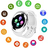 Bluetooth Smart Watch Touch Screen DMDG Smart Fitness Watch with Touch Screen Unlocked Watch Cell Phone with Sim Card Slot, Smart Wrist Watch for Kids Girls Boys Men Women(White)