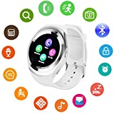 Bluetooth Smart Watch Touch Screen DMDG Smart Fitness Watch with Touch Screen Unlocked Watch Cell Phone with Sim Card Slot, Smart Wrist Watch for Kids Girls Boys Men Women(White)