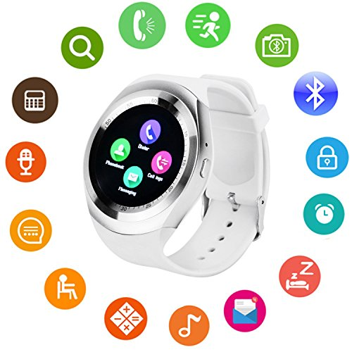Bluetooth Smart Watch Touch Screen DMDG Smart Fitness Watch with Touch Screen Unlocked Watch Cell Phone with Sim Card Slot, Smart Wrist Watch for Kids Girls Boys Men Women(White) by DMDG