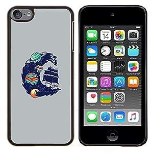 Qstar Arte & diseño plástico duro Fundas Cover Cubre Hard Case Cover para Apple iPod Touch 6 6th Touch6 (Psychedelic Espacio Oceánica Wave)