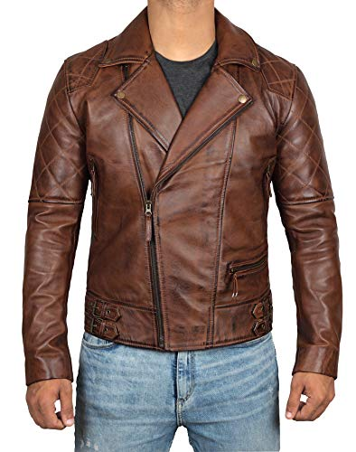 ([1100132] Decrum Mens Genuine Leather Jacket Racing Outfit | Frisco, S )