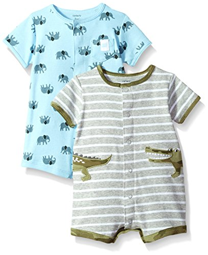 Carter's Baby Boys' 2-Pack Snap-up Romper, Crocodile/Elephant, 9 Months