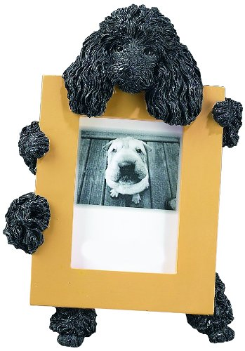 Image of Black Poodle Picture Frame Holds Your Favorite 2.5 by 3.5 Inch Photo, Hand Painted Realistic Looking Poodle Stands 6 Inches Tall Holding Beautifully Crafted Frame, Unique and Special Poodle Gifts for Poodle Owners