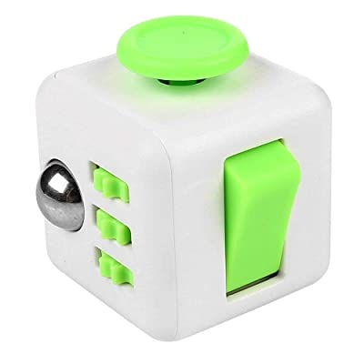 Fidget Cube Stress Anxiety Pressure Relieving Toy Great for Adults and Children[Gift Idea][Relaxing Toy][Stress Reliever][Soft Material] (White&Green): Toys & Games