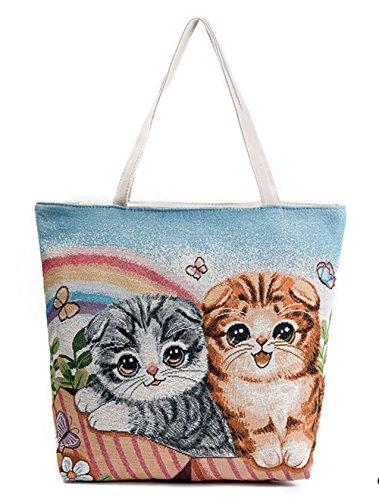 Schultertasche,Cloud-Y Damen Canvas Leinwand Rucksack Umhängetasche Messenger Bag Schultertasche Beiläufige Tasche 611a