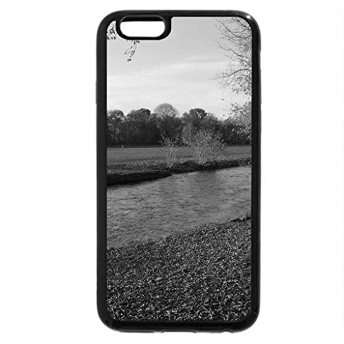 iPhone 6S Case, iPhone 6 Case (Black & White) - river in autumn field
